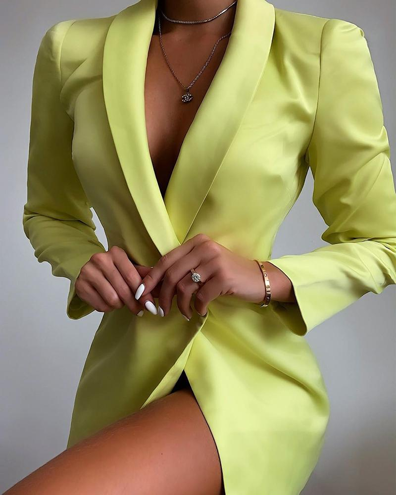 Solid Notched Collar Long Sleeve Blazer Dress фото