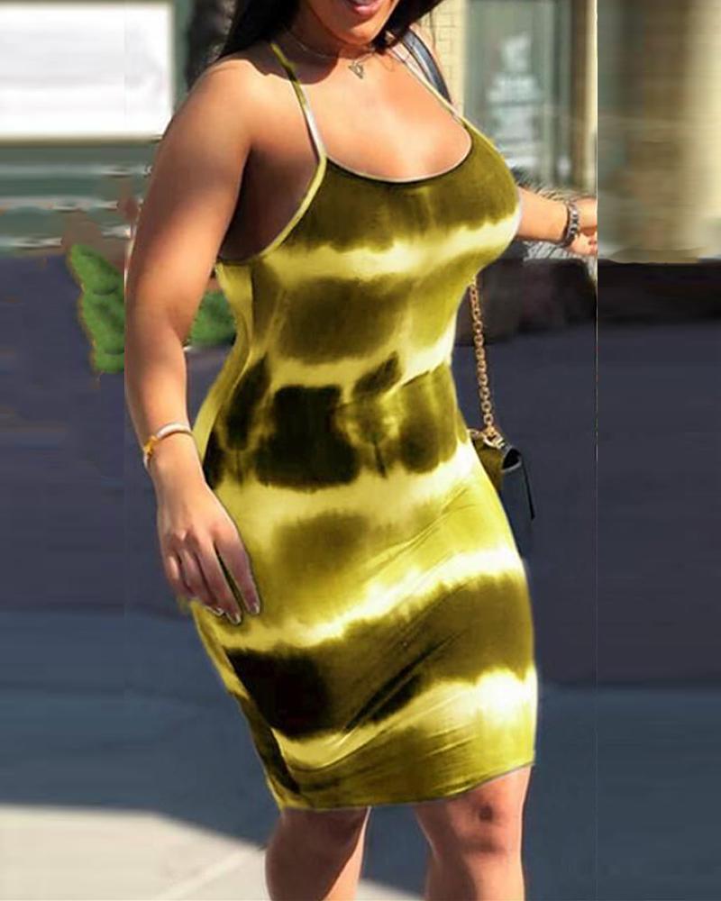 Tie Dye Bodycon Cami Dress фото
