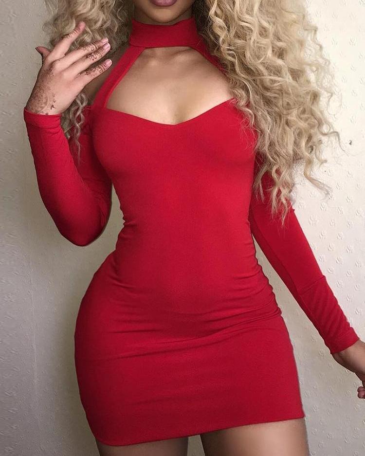 joyshoetique / Sexy Halter Cold Shoulder Mini Dress