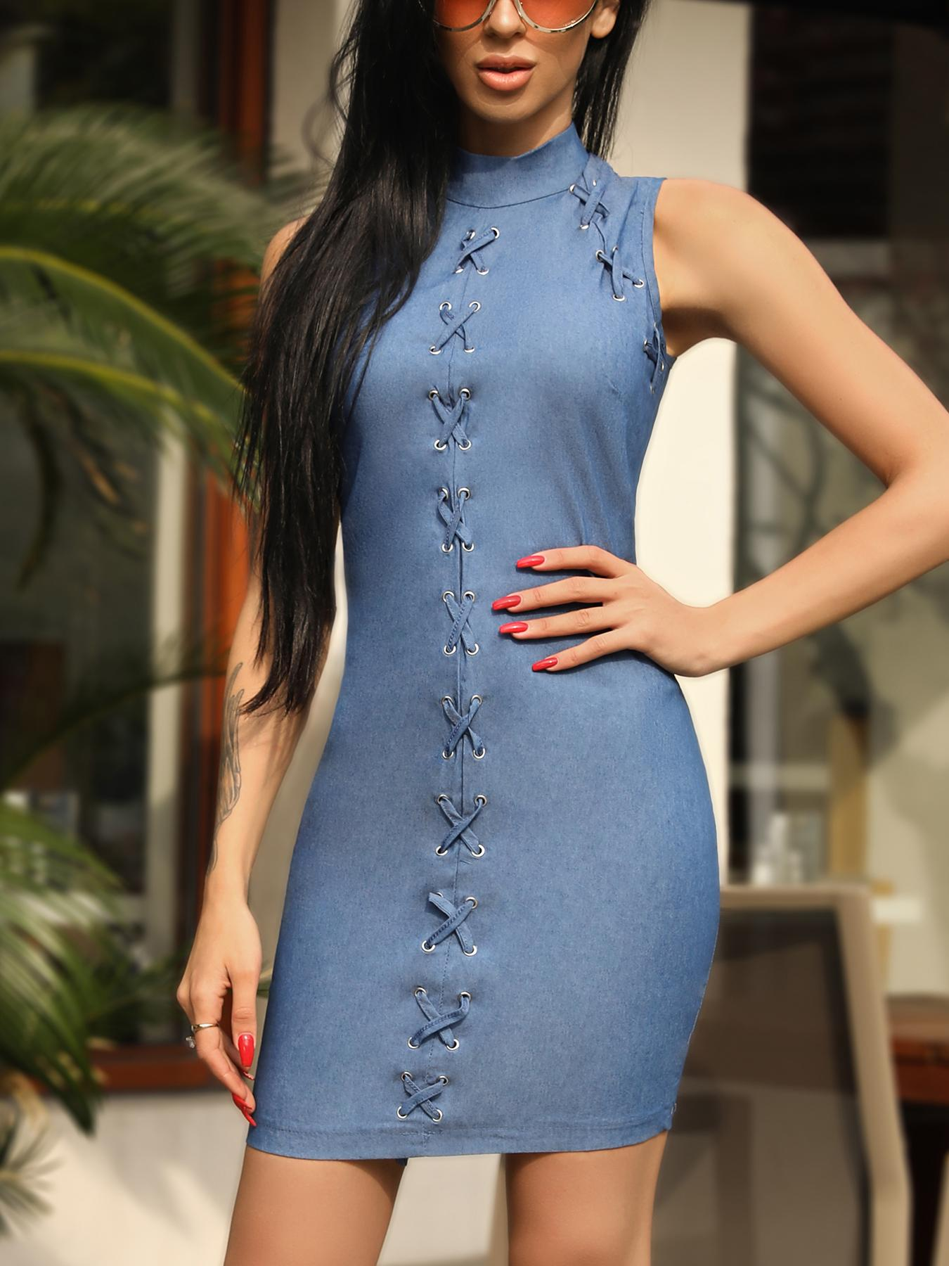 Sexy Lace-Up Eyelet Sleeveless Bodycon Dress фото
