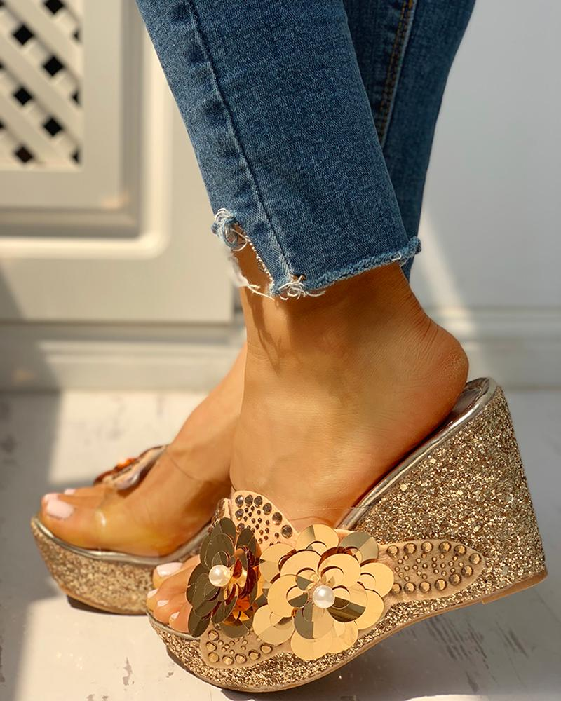 Transparent Bead Studded Platform Wedge Sandals