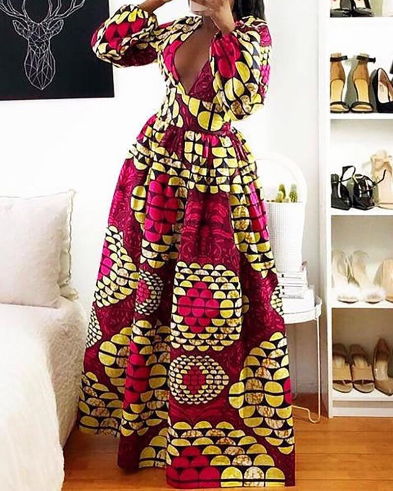 Shell Print Tight Waist Maxi Dress фото