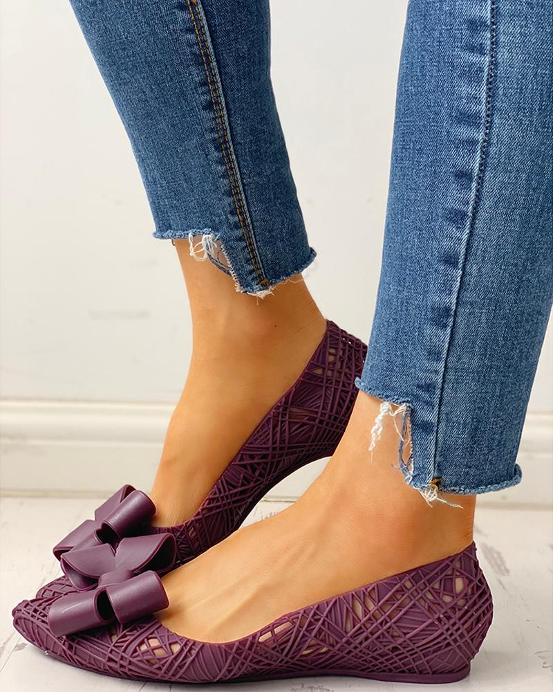 Bowknot Embellished Hollow Out Flat Shoes