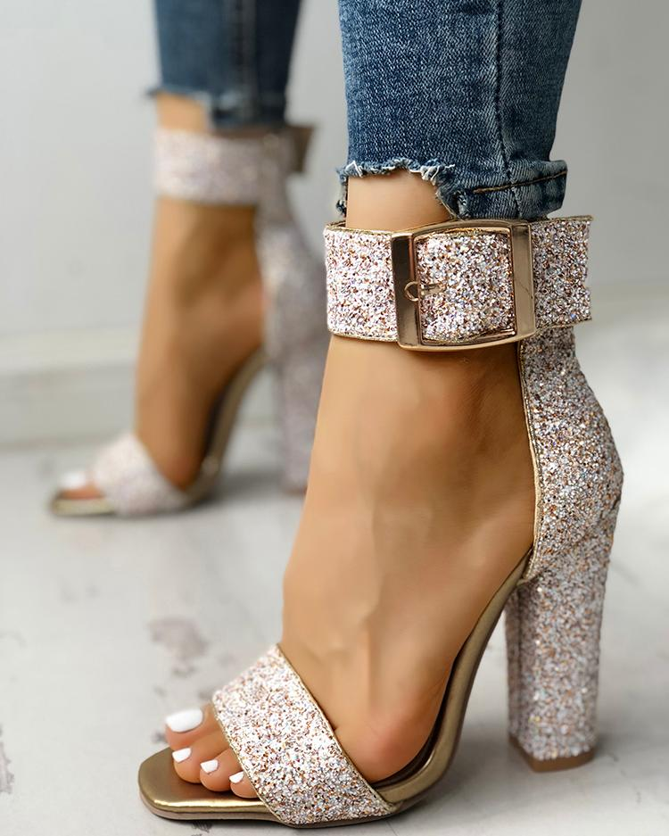 chicme / Elegante lentejuelas abierto dedo del pie chunky sandalias de tacón