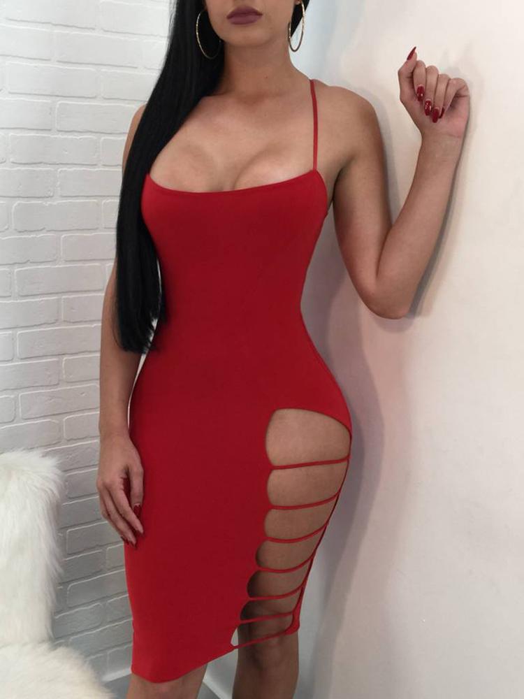 Ladder Cutout Side Solid Mini Slip Dress