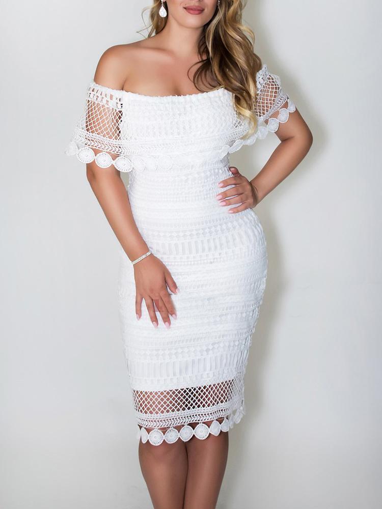 Seductive Off Shoulder Lace Bodycon Midi Dress