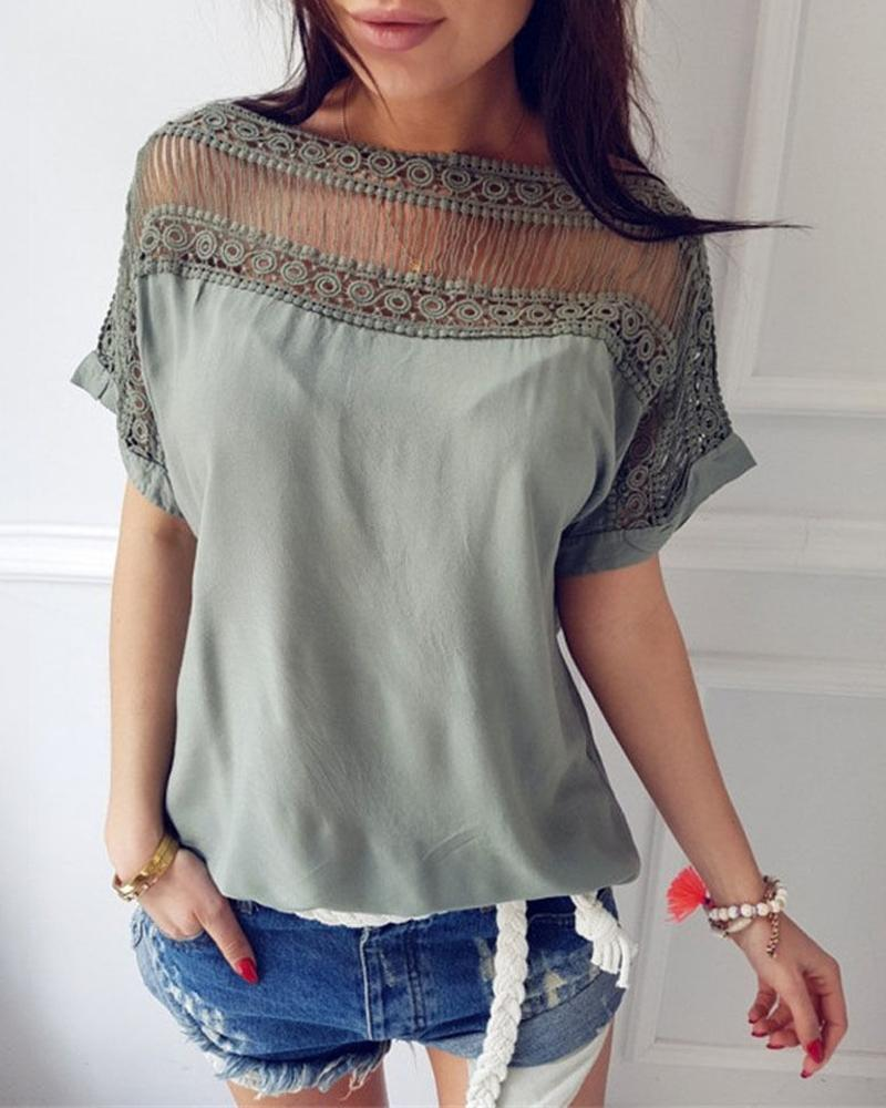 Casual Short Sleeve Hollow Out Blouse фото