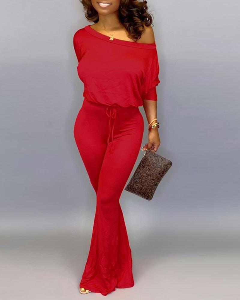 Solid Off Shoulder Batwing Sleeve Drawstring Jumpsuit фото