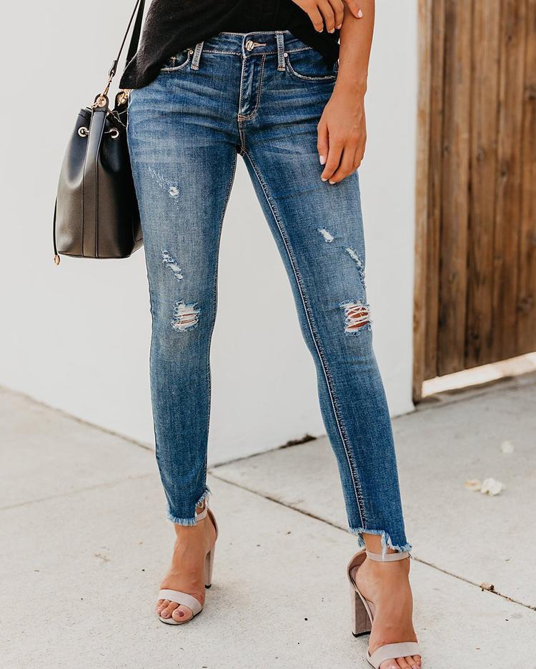 Fringes Hem Distressed Jeans фото