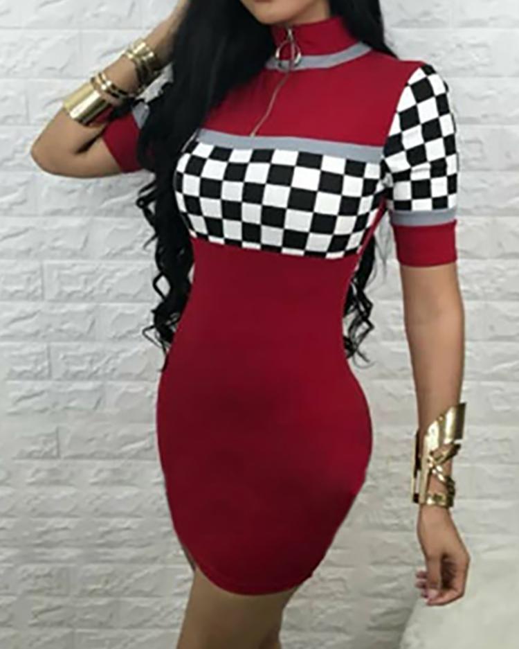 Checkboard Print Zipper Bodycon Dress фото