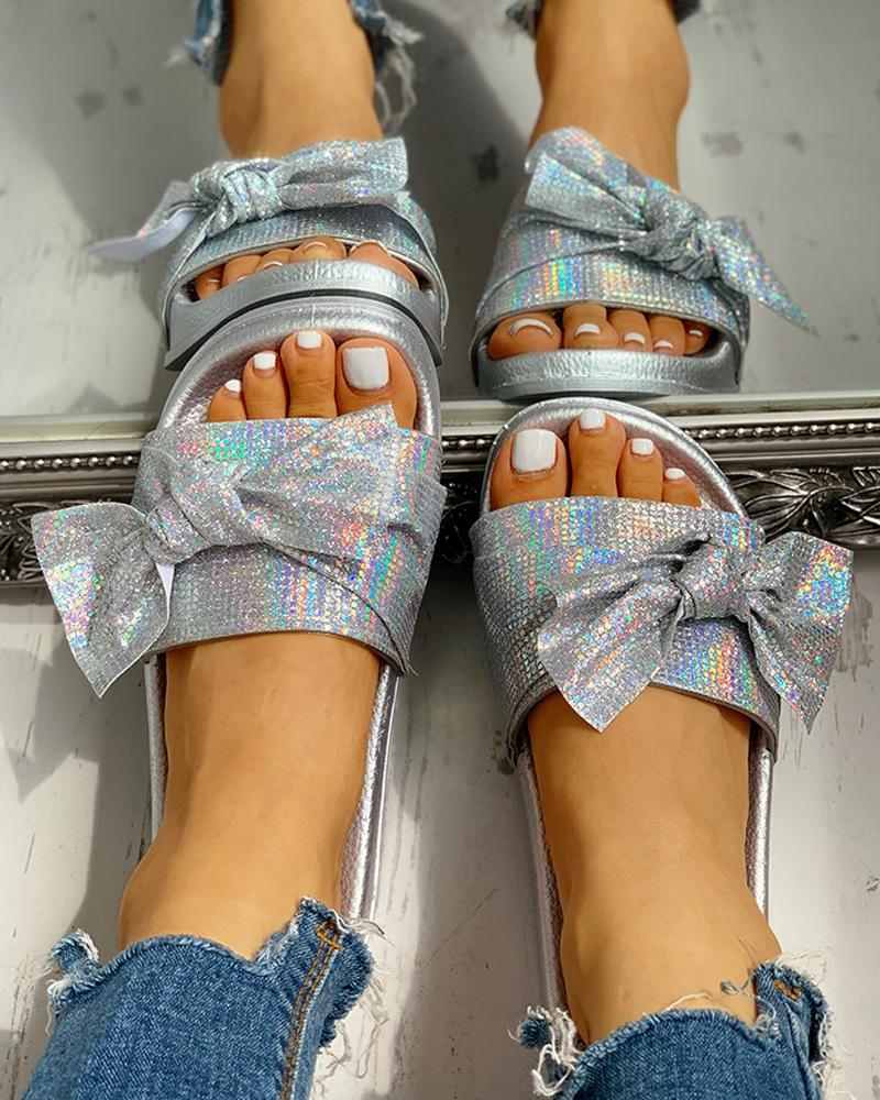 ivrose / Lentejuelas sandalias planas bowknot casual