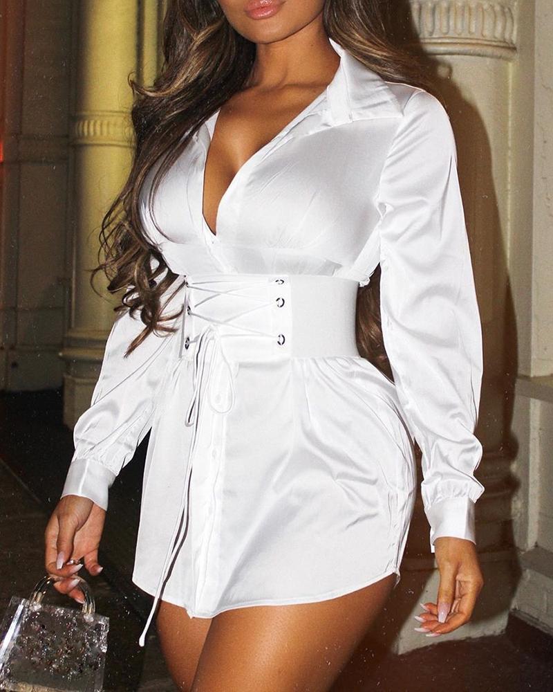 boutiquefeel / Vestido camisero con cintura ajustada y ojales