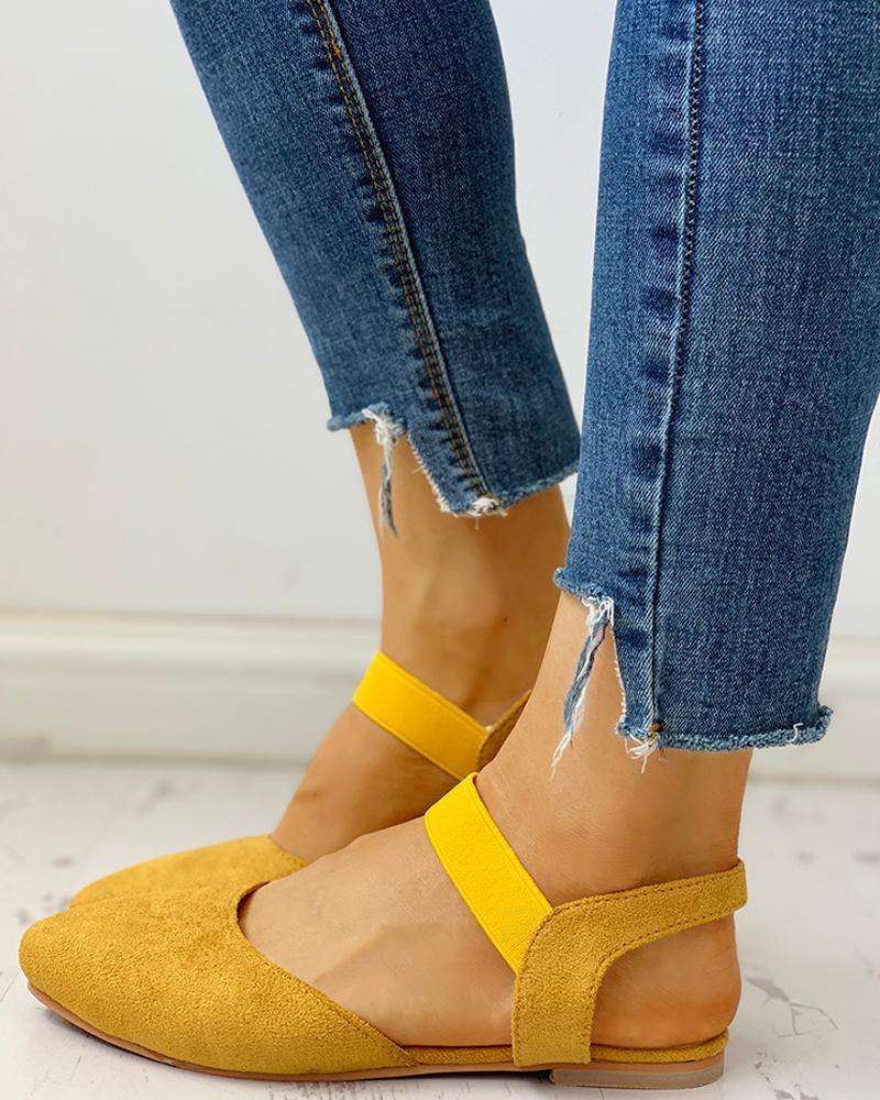 joyshoetique / Suede Pointed Toe Slingback Flat Shoes