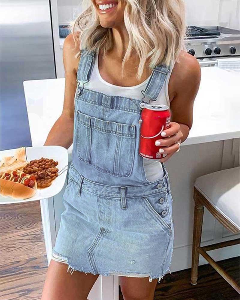 Denim Buttoned Pockets Suspender Dress фото