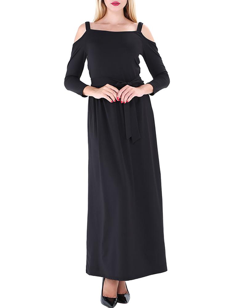Solid Open Shoulder Belted Maxi Slip Dress