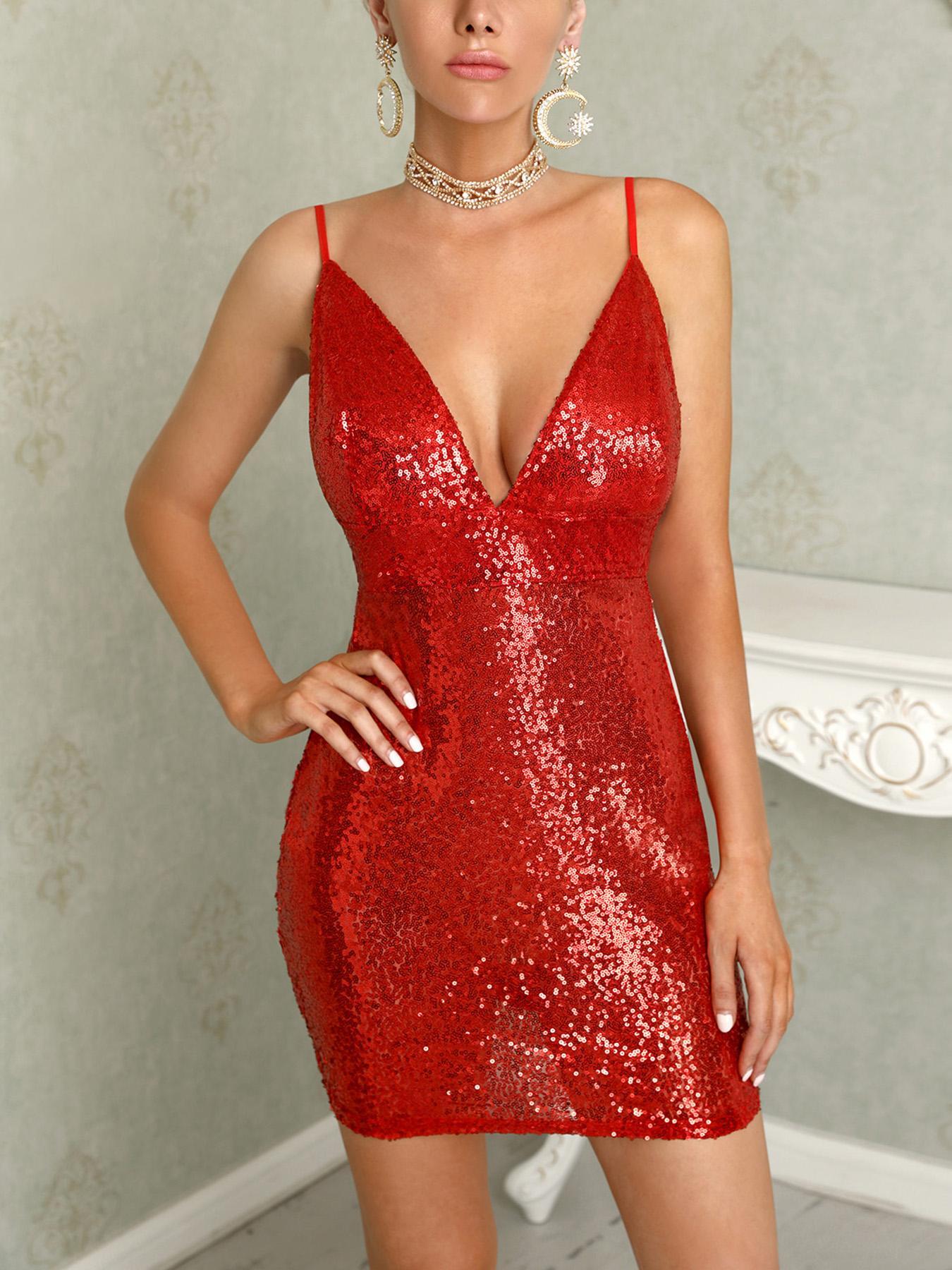 joyshoetique / Deep V Sleeveless Bodycon Sequin Dress