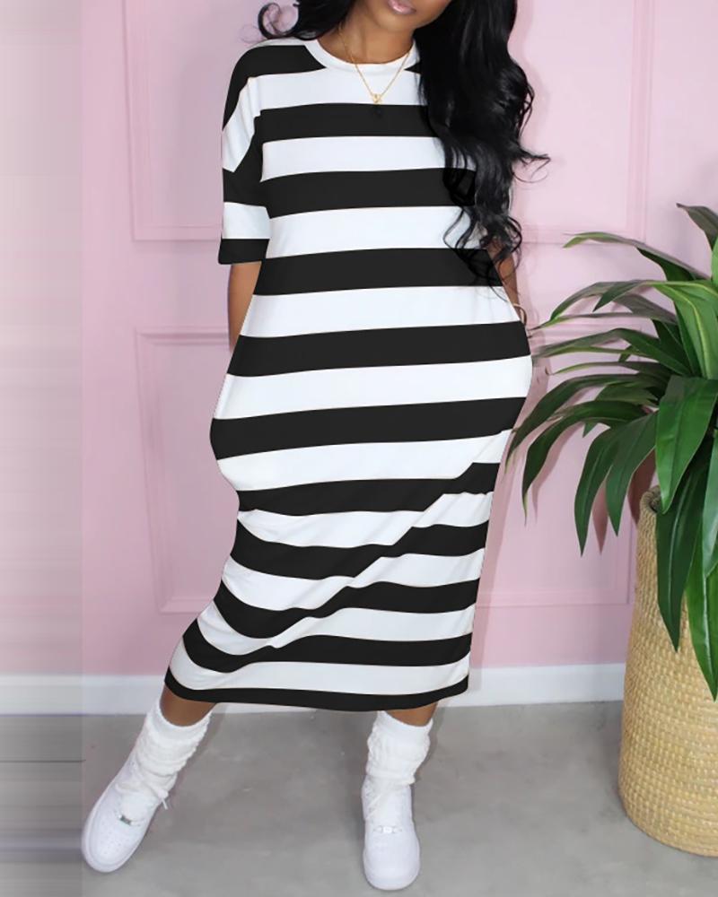 Side Pocket Striped Maxi Dress фото