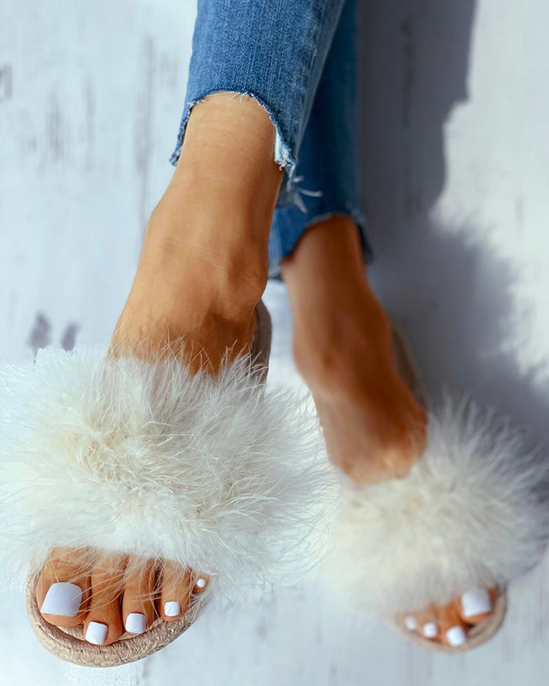 Open Toe Fluffy Flat Slipper фото