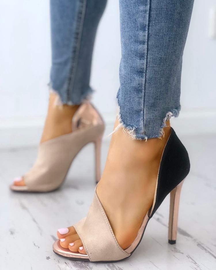 Colorblock Peep Toe High-heeled Sandals фото