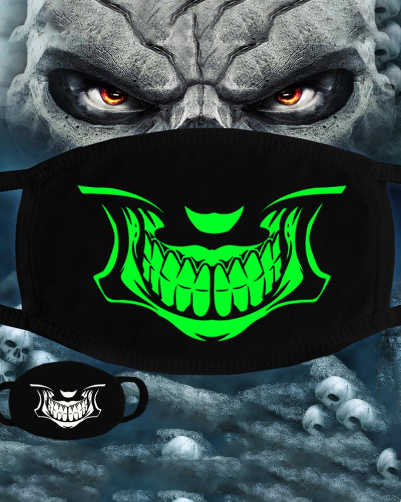 boutiquefeel / Máscara de boca luminosa con estampado de calavera