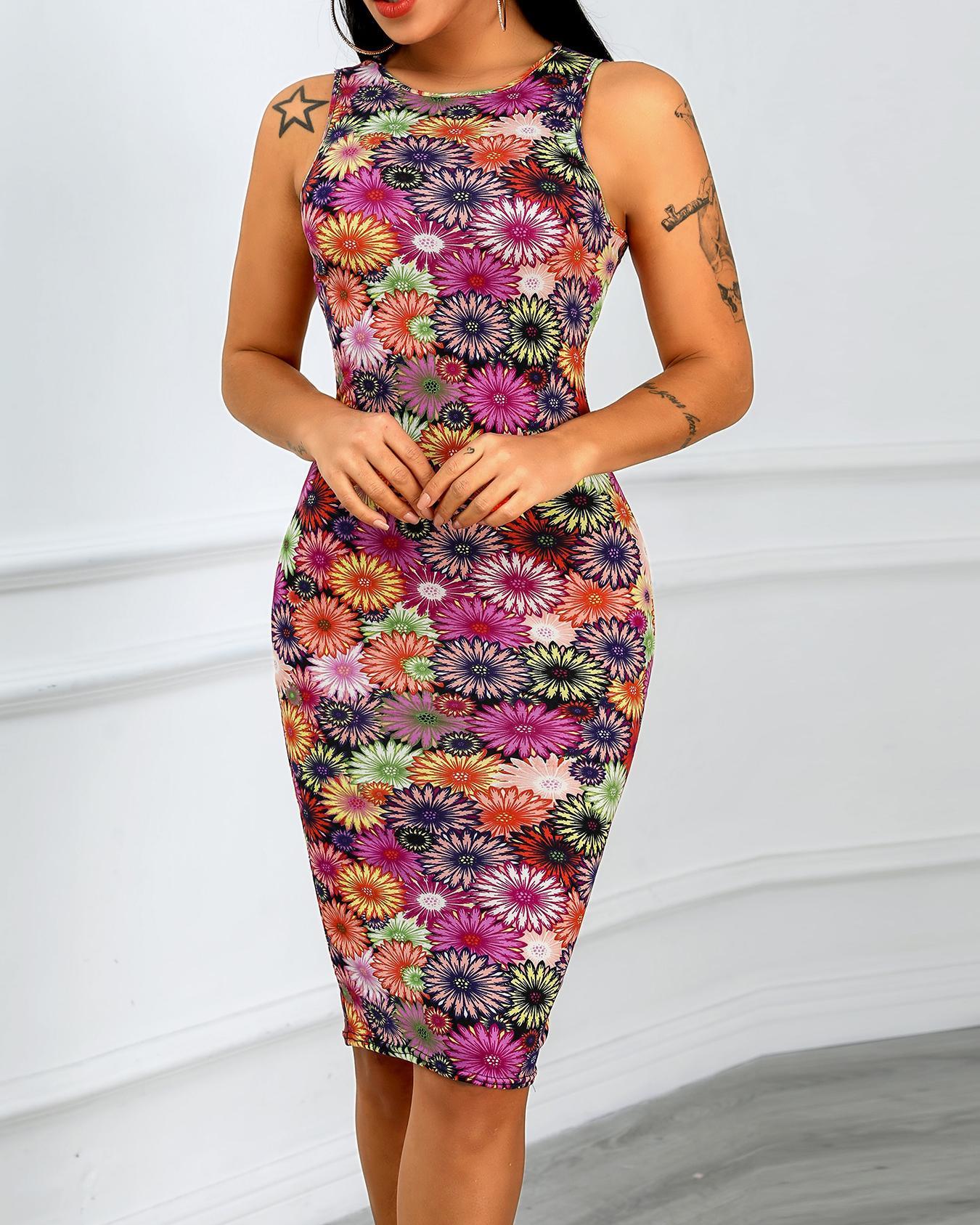 Daisy Print Sleeveless Midi Dress фото
