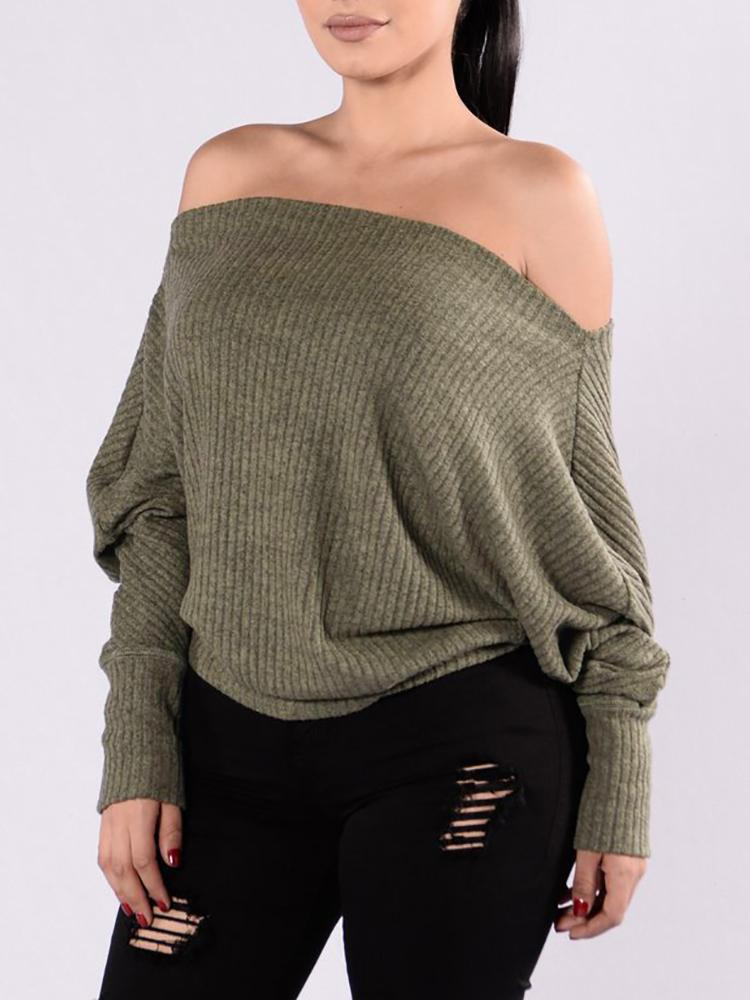 Купить со скидкой One Shoulder Loose Pullover Sweater