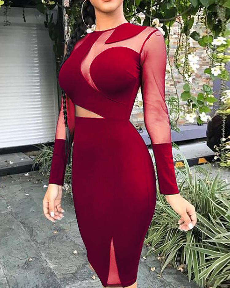 ivrose / Vestido ajustado con aplicación de malla transparente