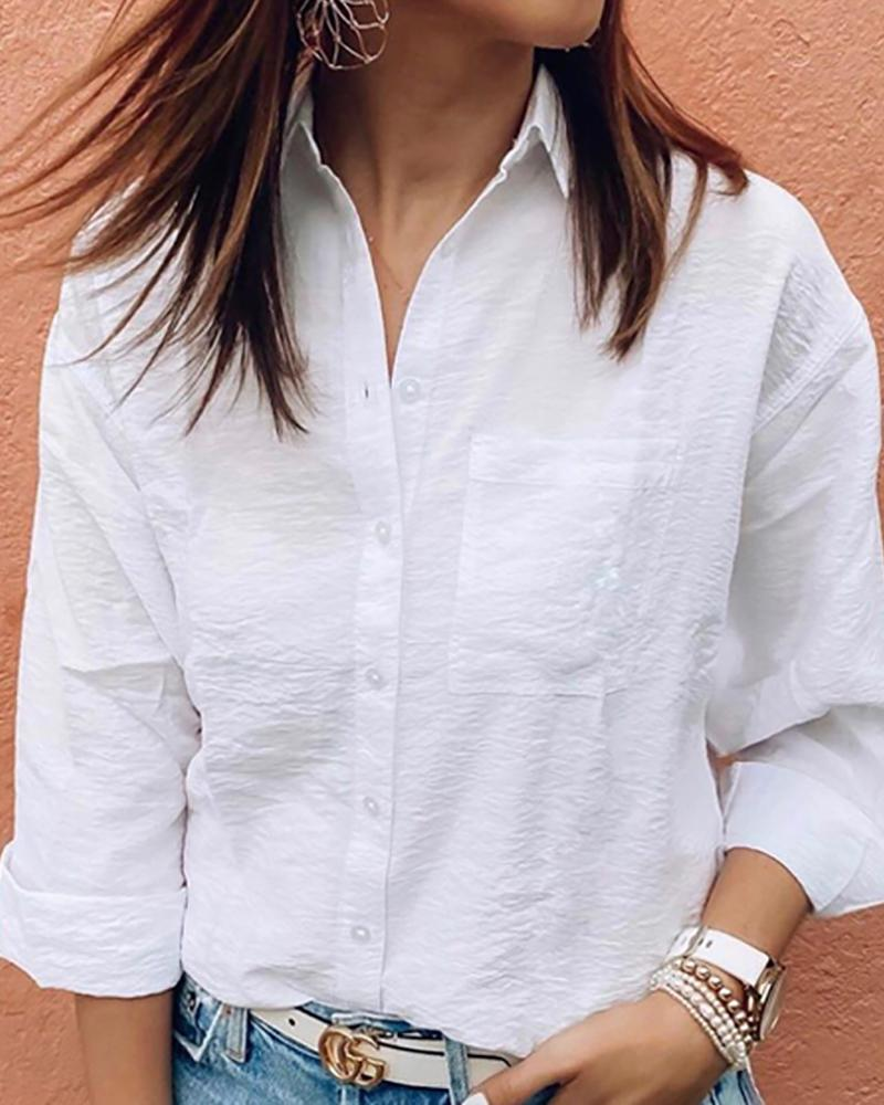 Solid Long sleeve Bottom Down Causal Shirt фото