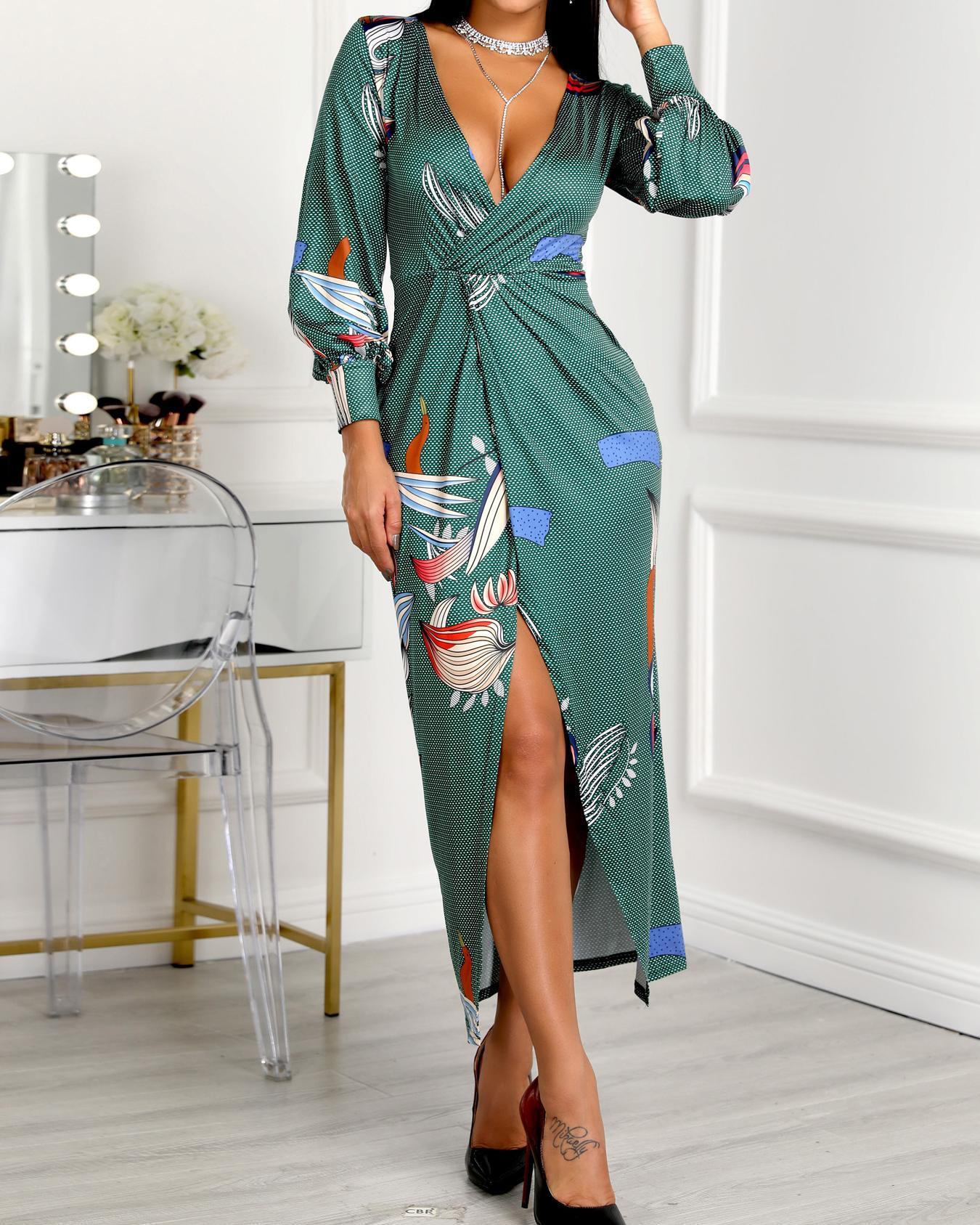 Mixed Print Lantern Sleeve Thigh Slit Dress