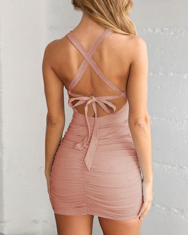 Crisscross Back Cut Out Ruched Bodycon Dress фото