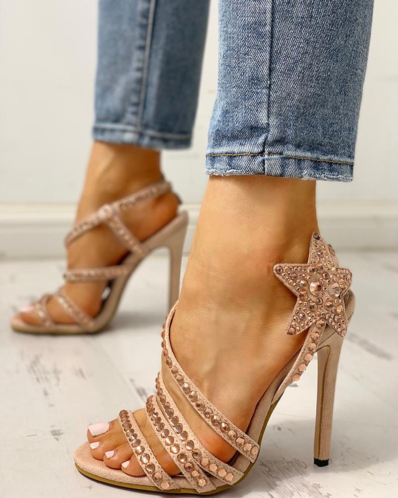 chicme / Studded Star Pattern Thin Heeled Sandals