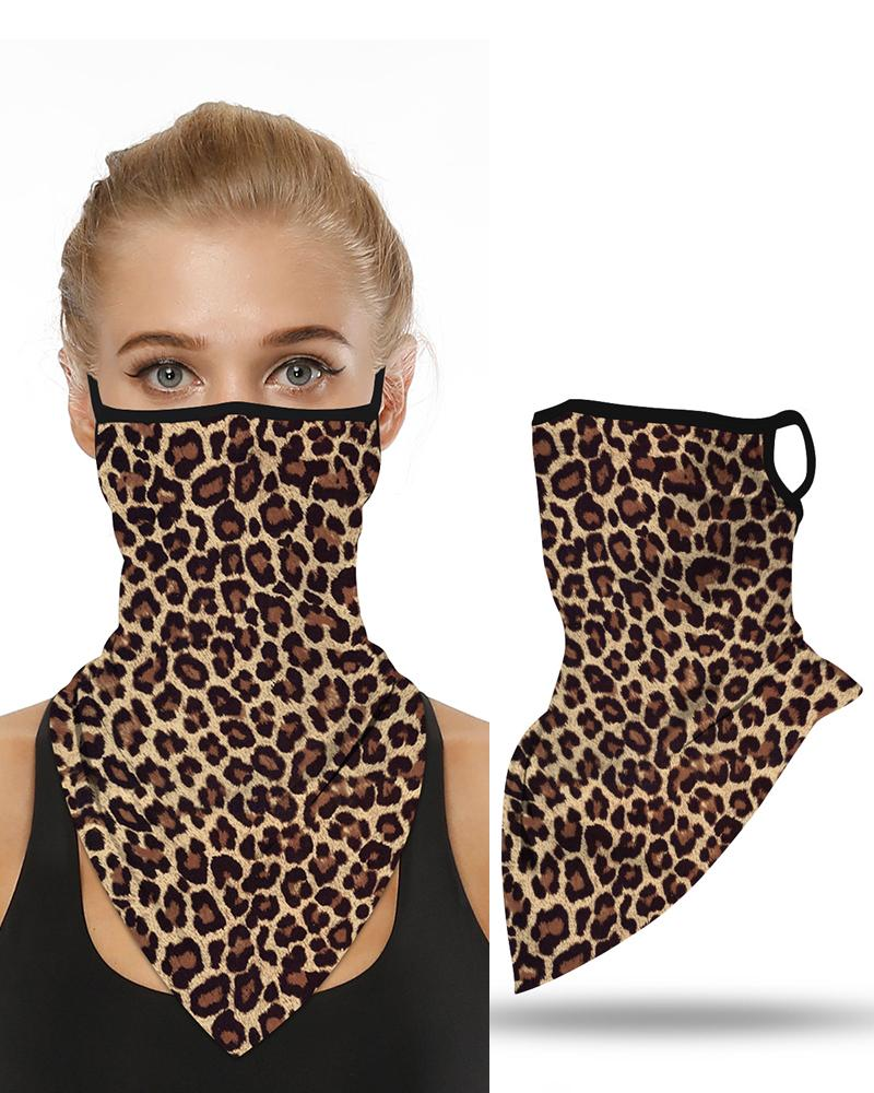 Leopard Print Breathable Ear Loop Face Cover Windproof Motorcycling Dust Outdoors Bandana фото