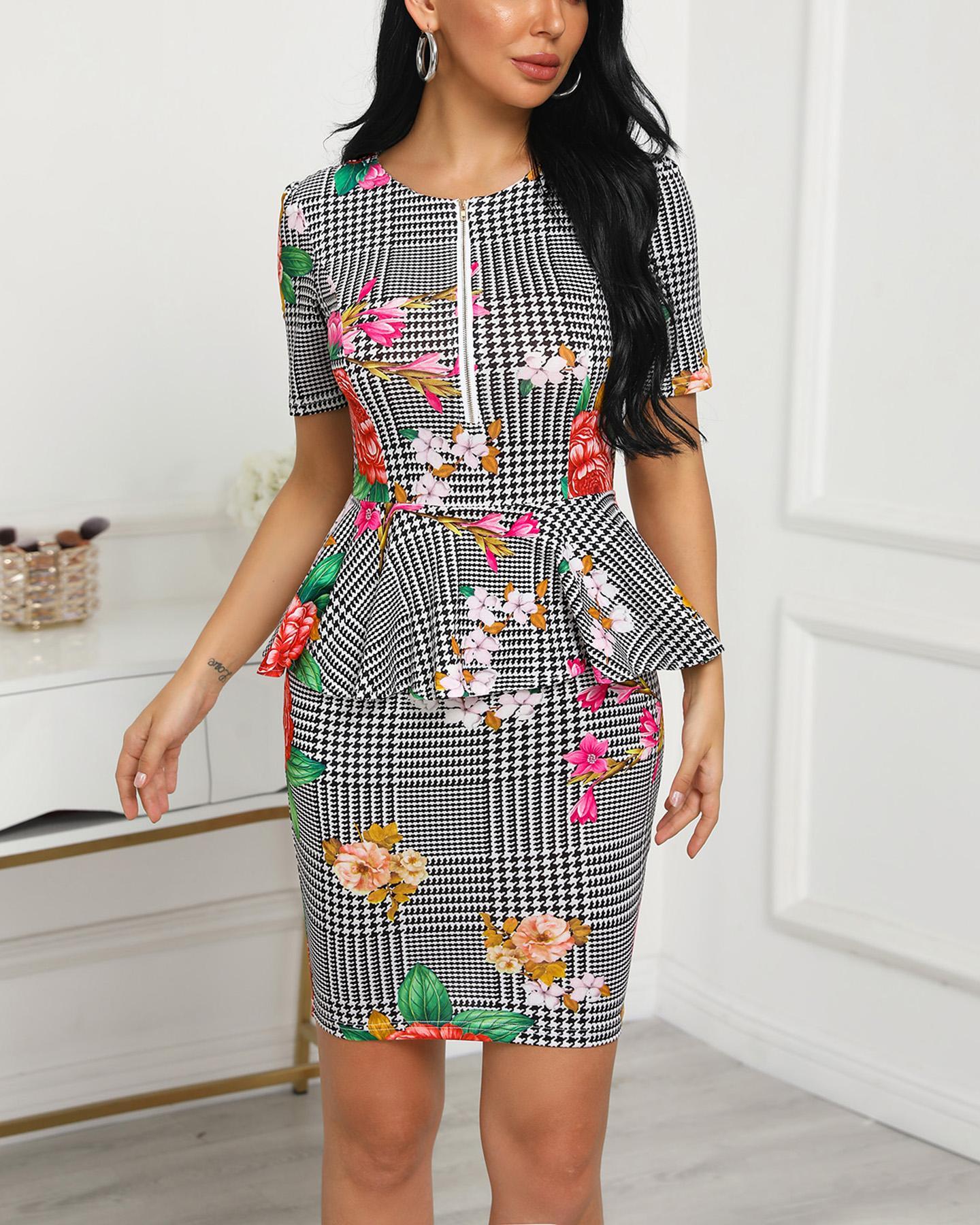 Grid Floral Print Peplum Bodycon Dress
