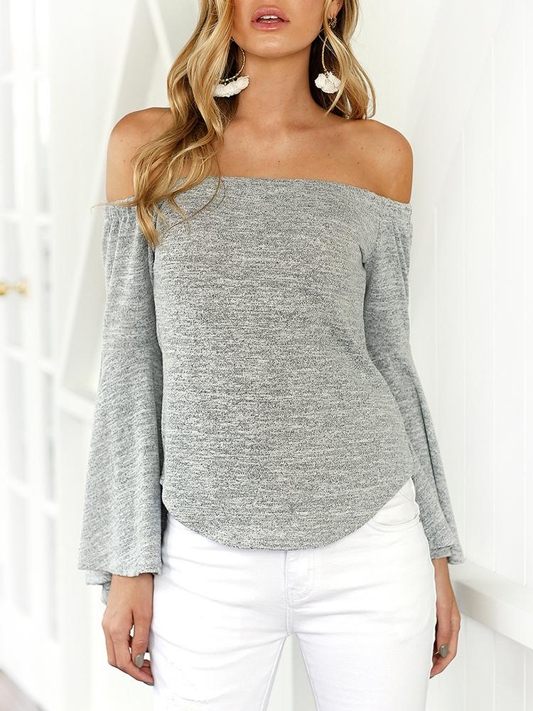 Купить со скидкой Trendy Off Shoulder Flare Sleeve Casual Blouse