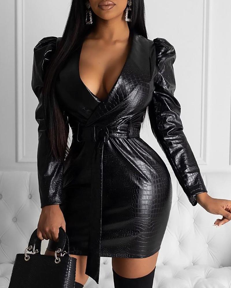 chicme / Couro falso vestido com cinto Bodycon