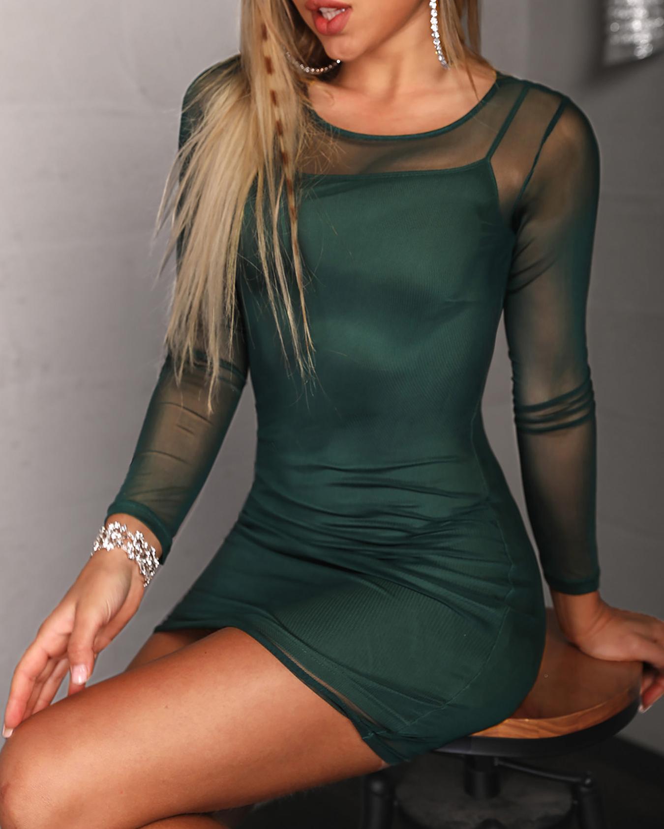 Long Sleeve Mesh Overlay Bodycon Dress