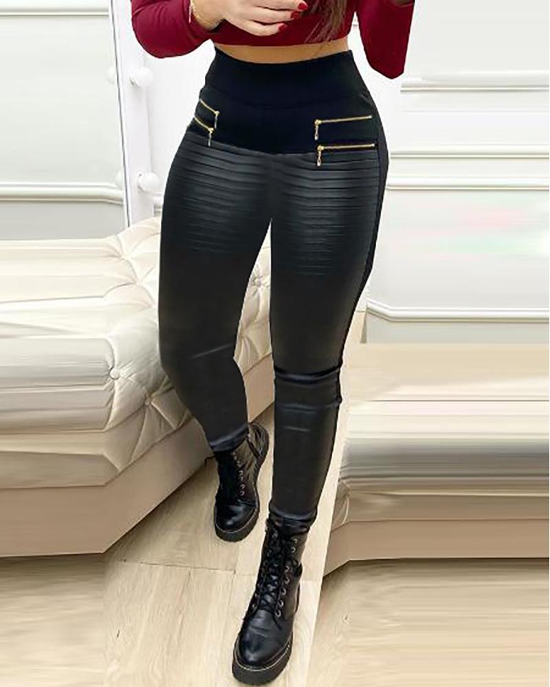 boutiquefeel / Pantalones de cuero Pu de cintura alta con diseño de cremallera