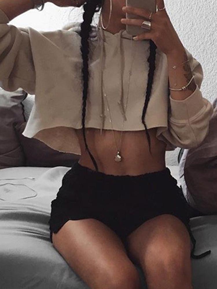 2016 Fashion Long Sleeve Crop Top Hoodies Loose Sweatshirt
