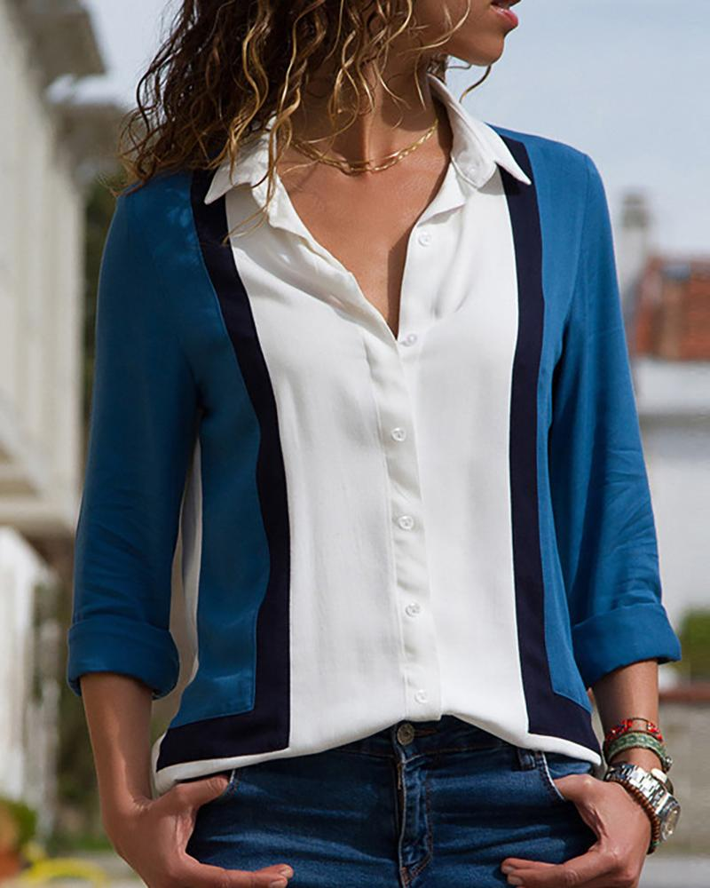 Long Sleeve Turn-down Collar Blouse фото