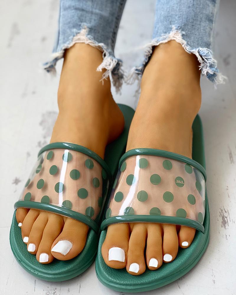 Spots Open Toe Slippers фото
