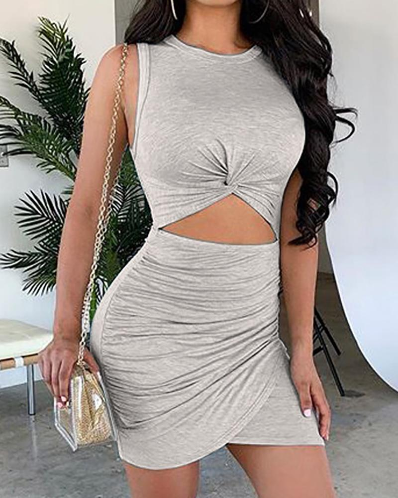 Cutout Waist Ruched Bodycon Mini Dress фото