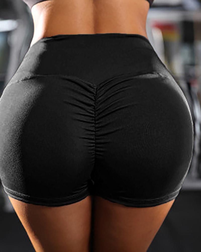 Solid High Waist Ruched Sporty Shorts фото