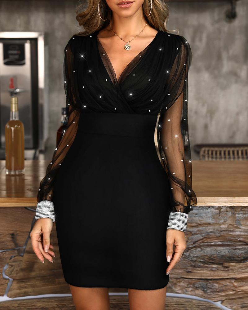 boutiquefeel / Vestido de fiesta con cuello en V de malla brillante