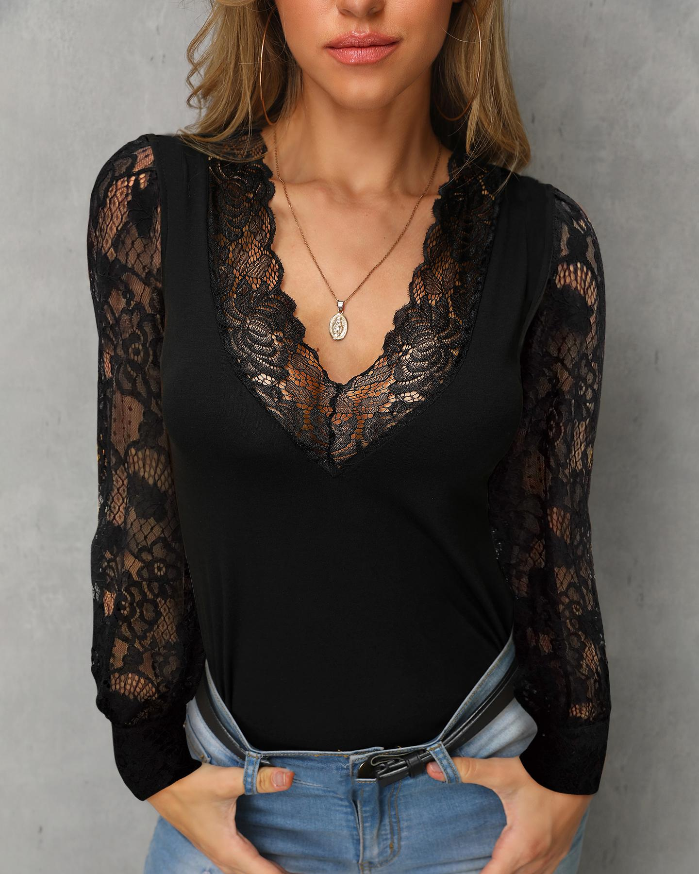 Long Sleeve V-Neck Lace Insert Casual Top фото