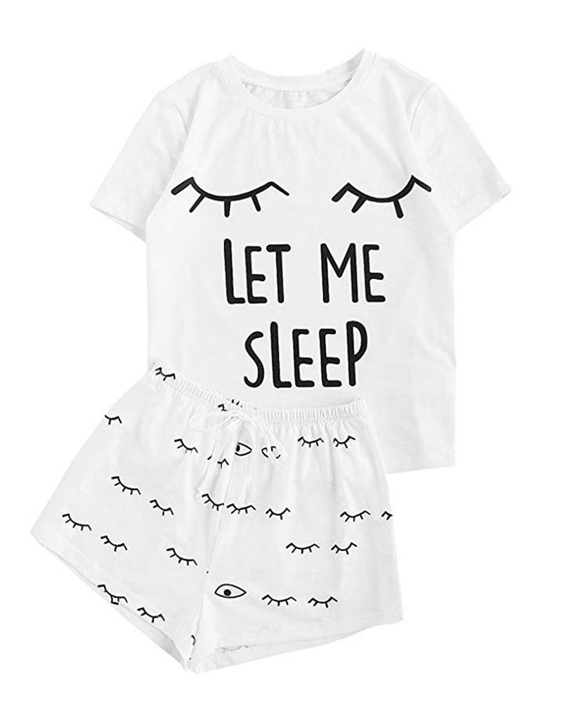 Print Short Sleeve Round Neck Pajamas Set фото