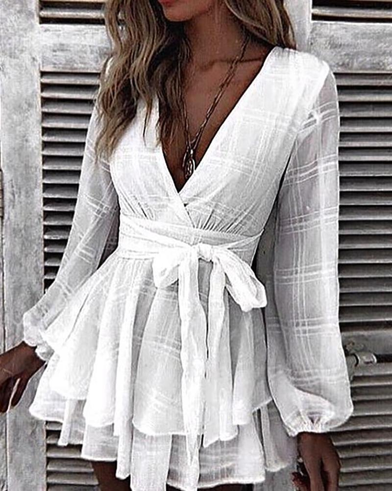 joyshoetique / Grid Tight Waist Layered Ruffles Dress