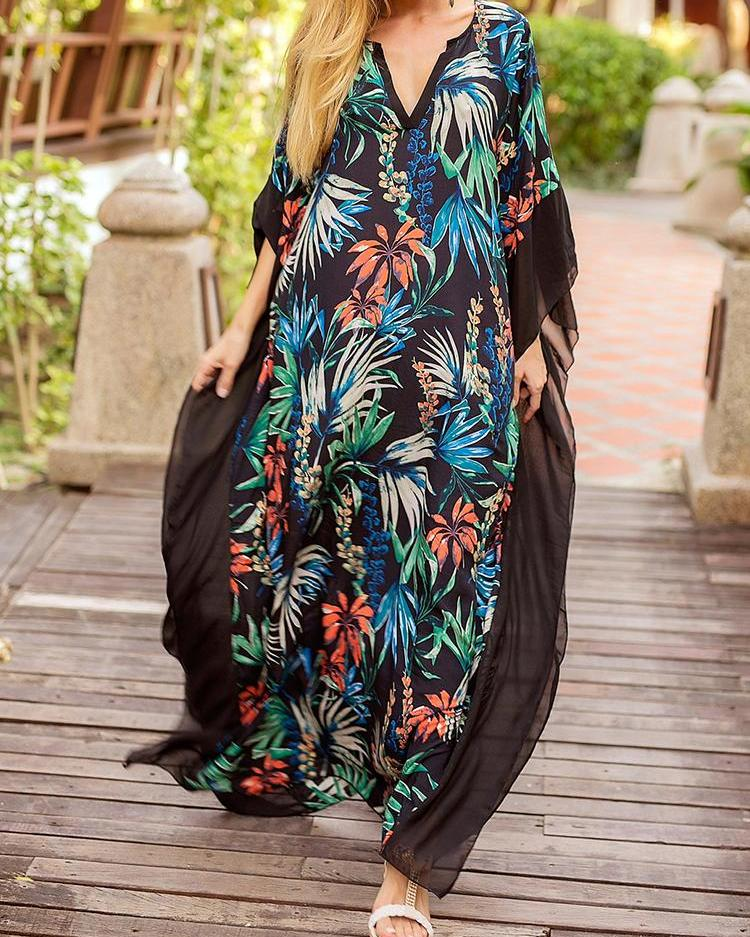 Leaf Print Mesh Trim Maxi Kaftan Dress