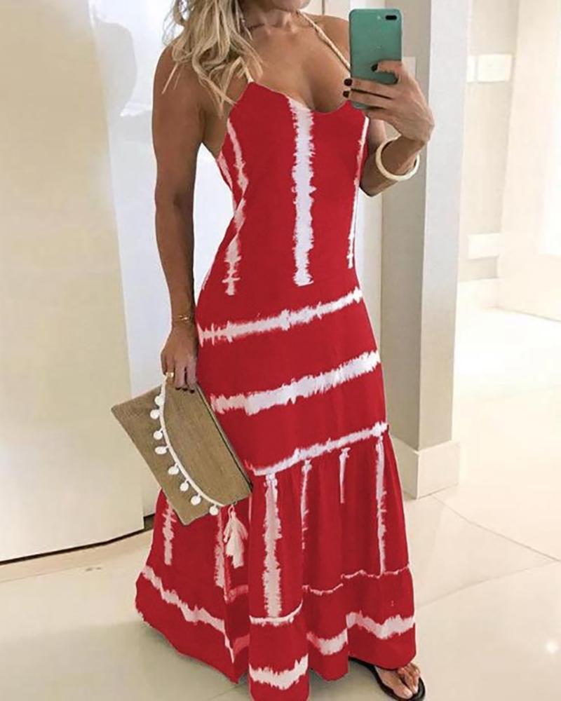 Tie Dye Print Halter Maxi Dress фото