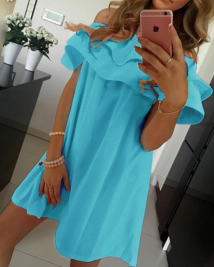 Flounced Off Shoulder Pleated Tunic Dress фото