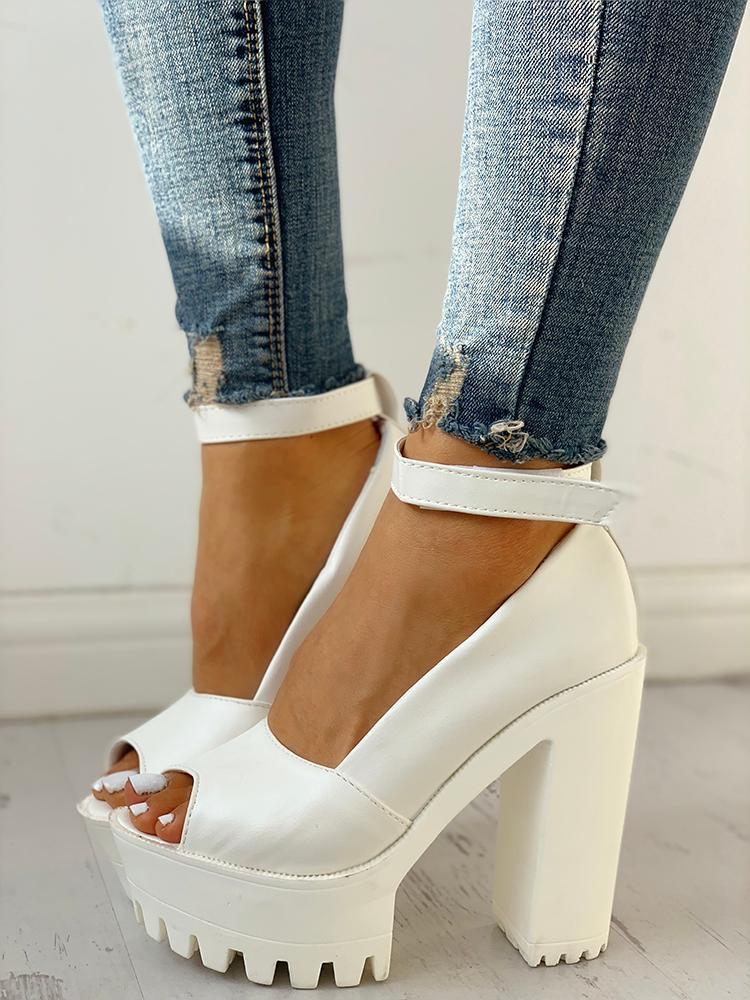 Peep Toe Ankle Strap Platform Chunky Sandals